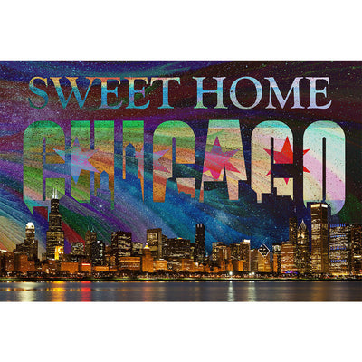 Zapwalls Decals Bright Sweet Home Chicago Skyline Abstract Wall Graphic