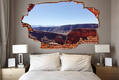 Zapwalls Decals Canyon Perspective Looking at Mountains Breaking wall Nature