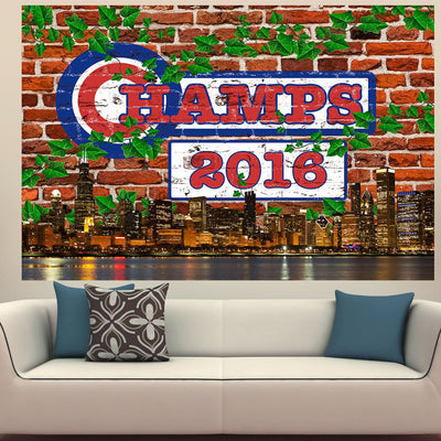 Zapwalls Decals Champs Ivy Chicago Skyline Wall Graphic