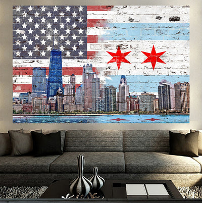 Zapwalls Decals Chicago American Flag Skyline