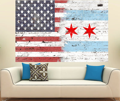 Zapwalls Decals Chicago American Flag Street