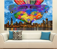 Zapwalls Decals Chicago Bear Feather City Skyline