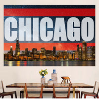 Zapwalls Decals Chicago Bright Orange Skyline Stars Wall Graphic