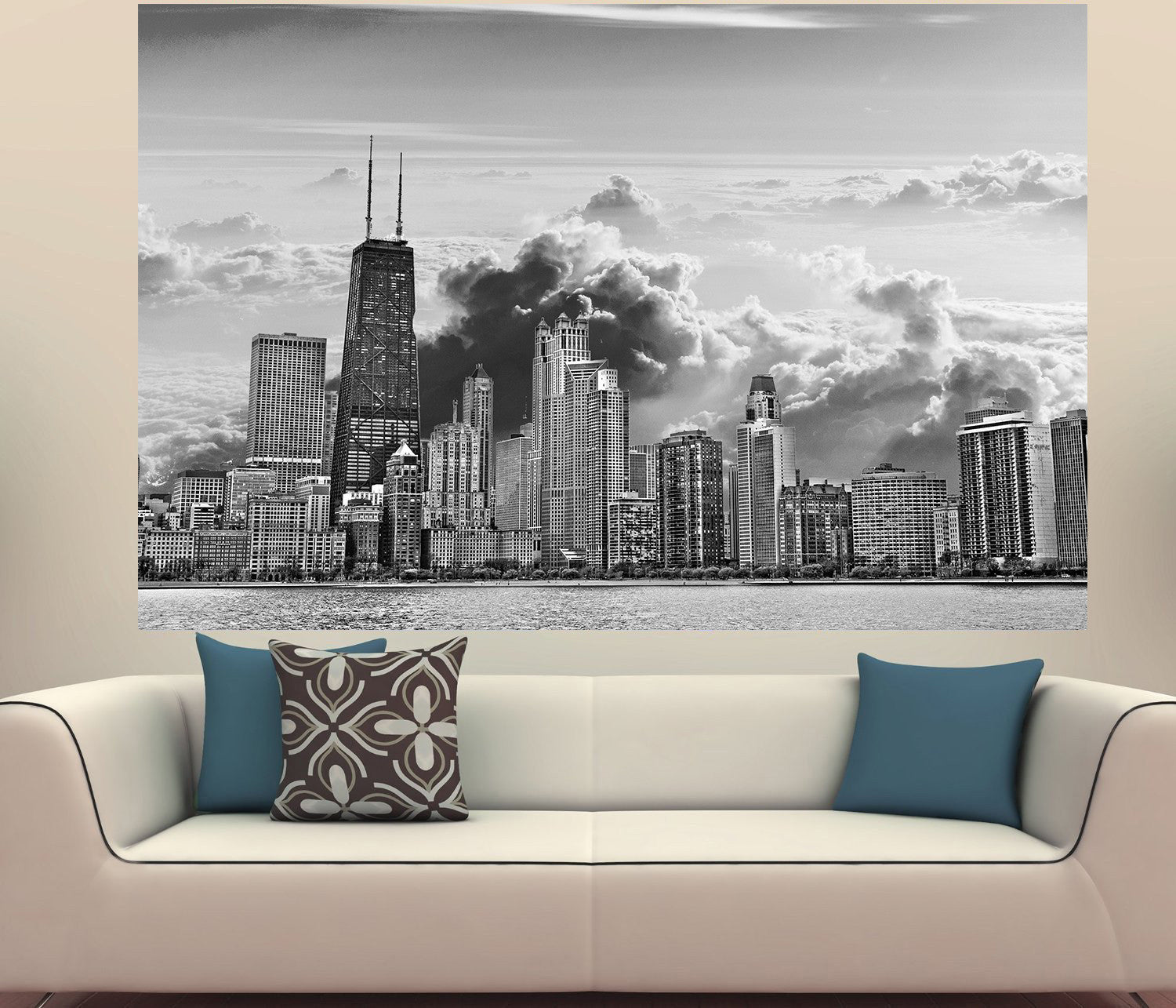 Zapwalls Decals Chicago Clouds Black U0026 White Skyline Wall Graphic