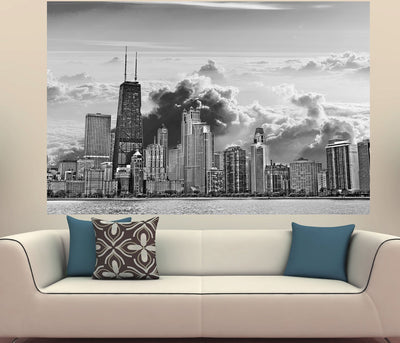 Zapwalls Decals Chicago Clouds Black & White Skyline Wall Graphic