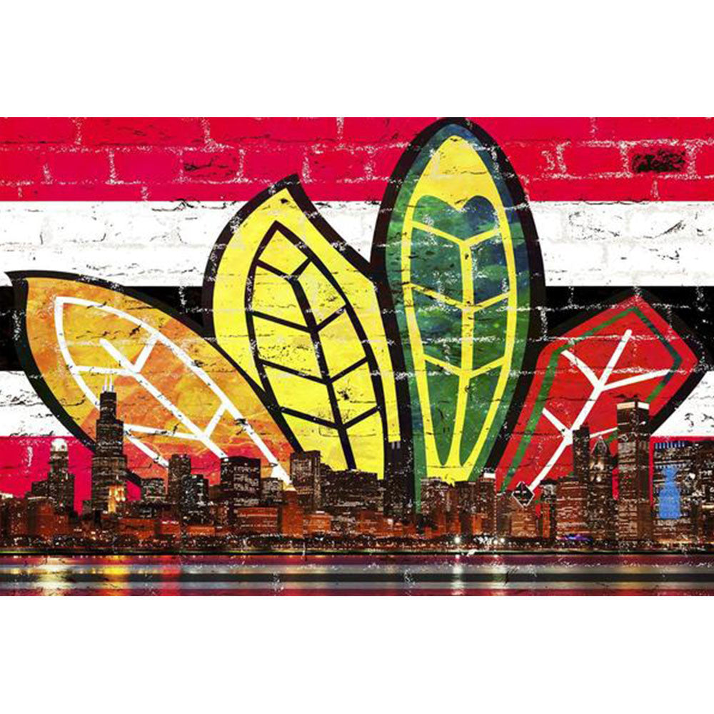 Zapwalls Decals Chicago Feather Red & Black Skyline