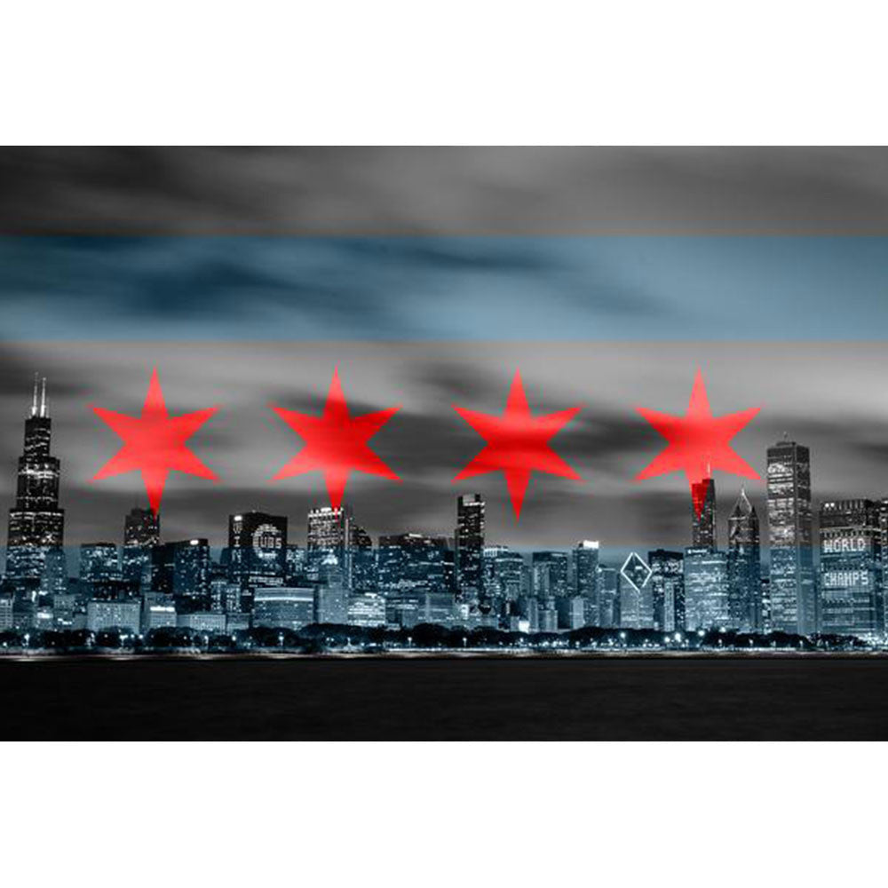 Chicago Flag Black Amp White Skyline Wall Graphic Zapwalls