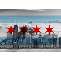 Zapwalls Decals Chicago Flag Cloudy Skyline