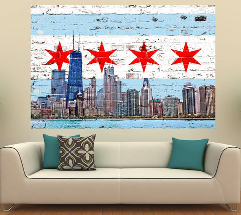 Zapwalls Decals Chicago Flag Skyline