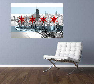 Zapwalls Decals Chicago Flag Skyline Black & White