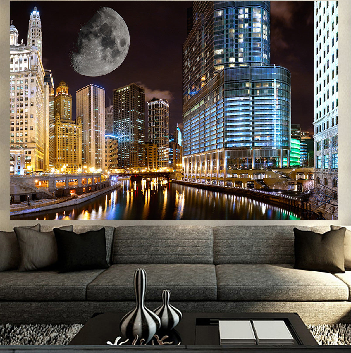 Zapwalls Decals Chicago Full Moon Riverwalk