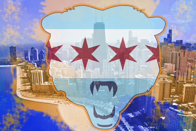 Zapwalls Decals Chicago Orange & Blue Skyline Water Color