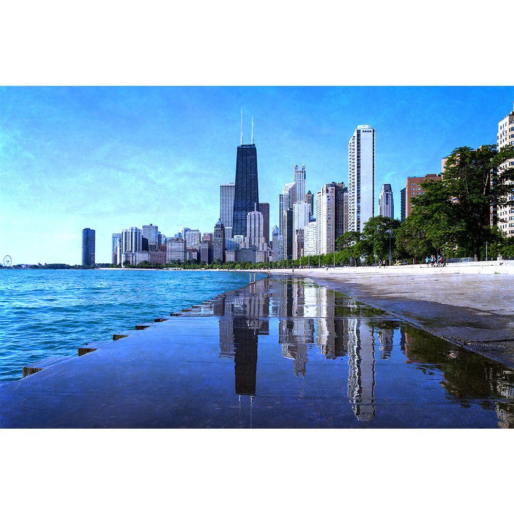 Zapwalls Decals Chicago Puddle Mirror Skyline Wall Graphic