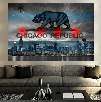 Zapwalls Decals Chicago Republic Flag Black & White Wall Graphic