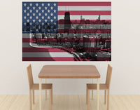 Zapwalls Decals Chicago Skyline American Flag