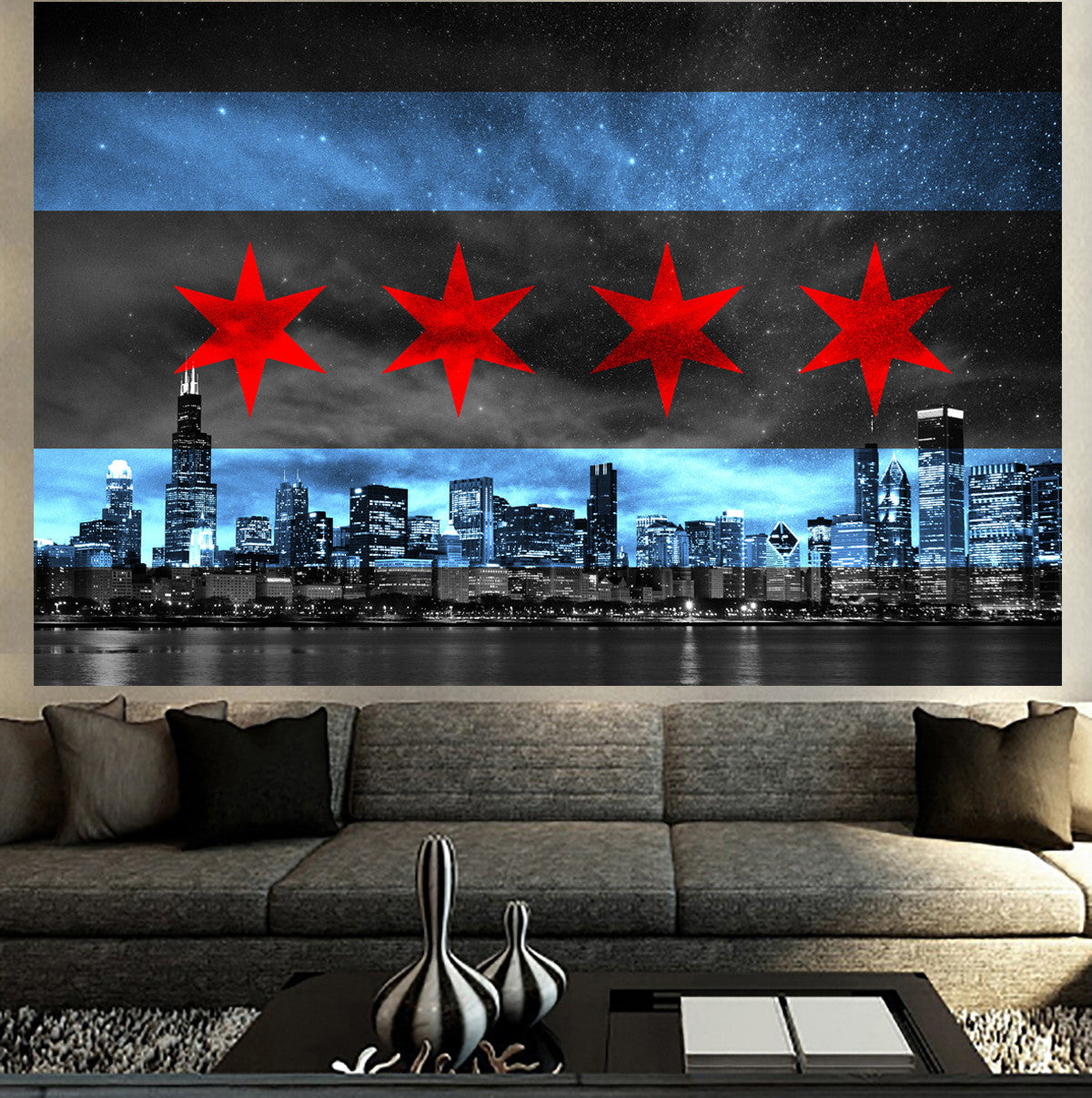 chicago skyline flag glow wall graphic zapwalls zapwalls decals chicago skyline flag glow wall graphic