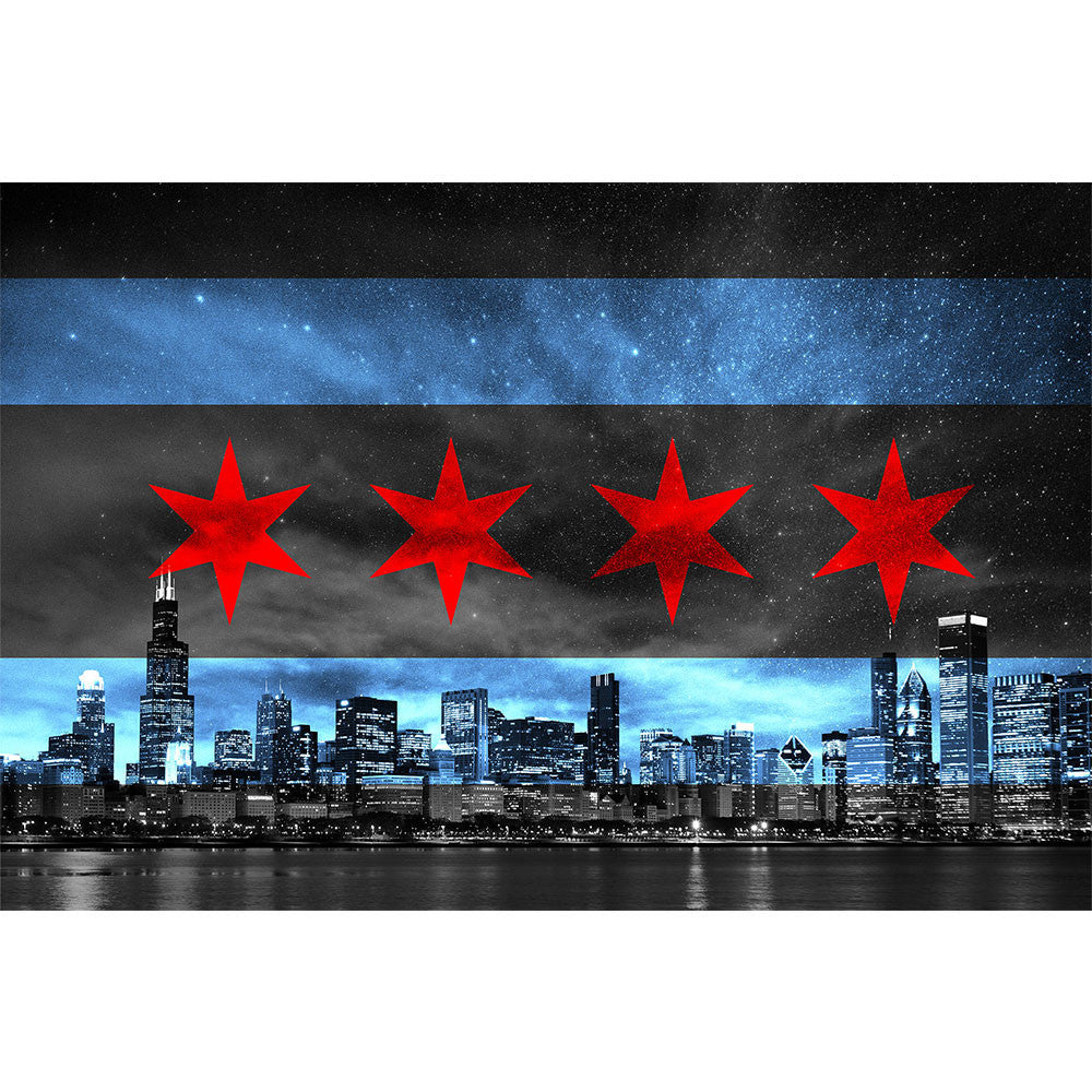 Zapwalls Decals Chicago Skyline Flag Glow Wall Graphic