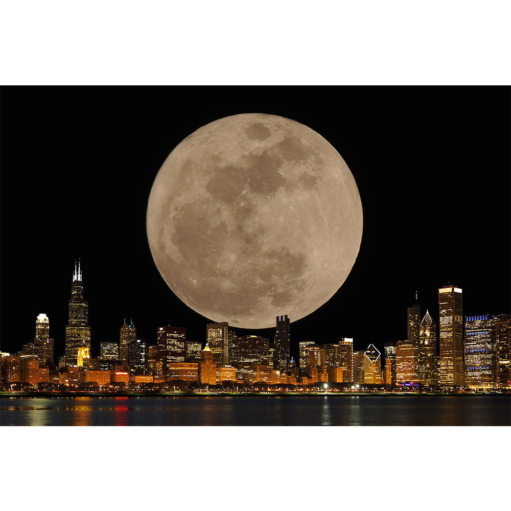 Zapwalls Decals Chicago Skyline Full Moon