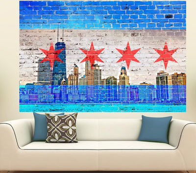 Zapwalls Decals Chicago Skyline Light Blue Chicago Flag Flag