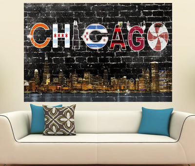Zapwalls Decals Chicago Soutside Street Skyline