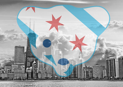 Zapwalls Decals Chicago Waveland Cloudy Skyline