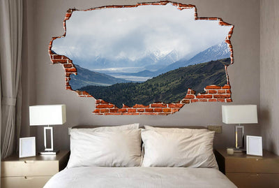 Zapwalls Decals Cloudy Mountain Stream Breaking wall Nature