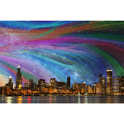 Zapwalls Decals Color Abstract Chicago Skyline Wall Graphic