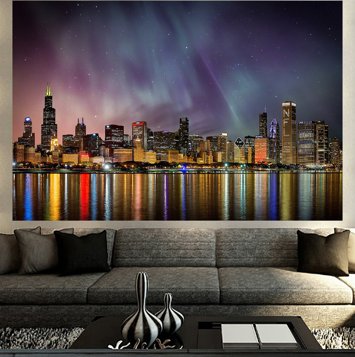 Zapwalls Decals Colorful Chicago Skyline Night Time