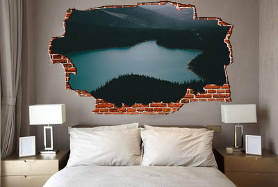Zapwalls Decals Dark Lake Mountainside Breaking wall Nature