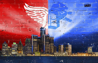 Zapwalls Decals Detroit Sports Skyline