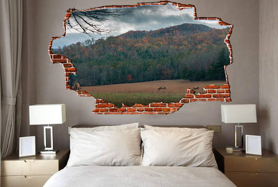 Zapwalls Decals Elk Fall Grassing Cloudy Sky Breaking wall Nature
