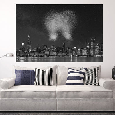 Zapwalls Decals Fireworks Chicago Black & White Wall Graphic