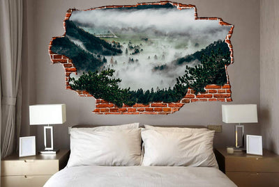 Zapwalls Decals Foggy Forest Hills Breaking wall Nature