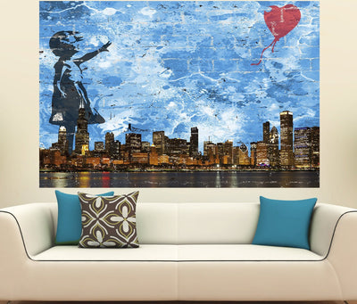 Zapwalls Decals Girl With Balloon Bansky Chicago Skyline