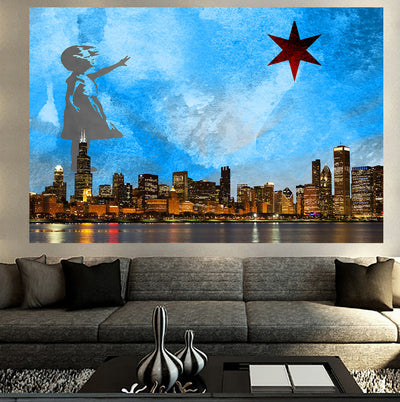 Zapwalls Decals Girl With The Star Chicago Wall Graphic