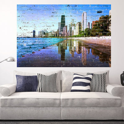Zapwalls Decals Graffiti Chicago Refection Skyline Wall Graphic