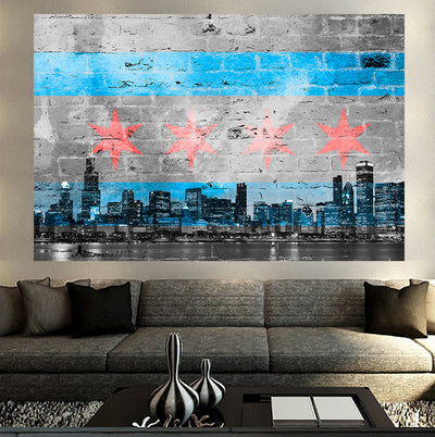 Zapwalls Decals Graffiti Chicago Skyline Flag Black & White Wall Graphic