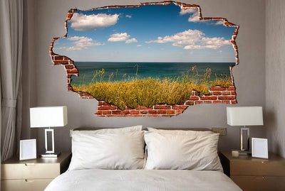 Zapwalls Decals Grassy Ocean Beautiful Sky Breaking wall Nature