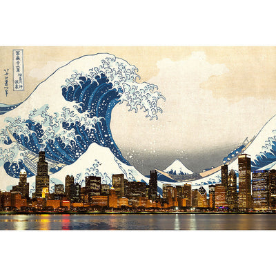 Zapwalls Decals Great Wave of Chicago Wall Graphic