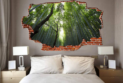 Zapwalls Decals Green Birch Tree Forest Breaking wall Nature