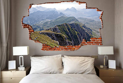 Zapwalls Decals Green Majestic Mountains Breaking wall Nature