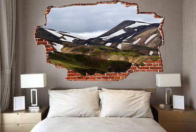 Zapwalls Decals Hilly Brown Mountains Grey Sky Breaking wall Nature