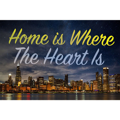 Zapwalls Decals Home Is Where The Heart Is Chicago Skyline Wall Graphic