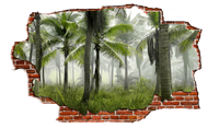 Zapwalls Decals Jungle Tree View Breaking wall Nature