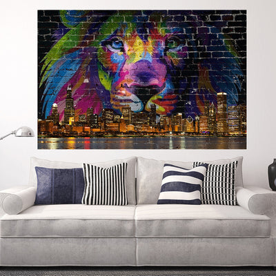Zapwalls Decals Lion Chicago Skyline Graffiti Wall Graphic