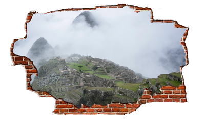 Zapwalls Decals Machu Picchu Foggy Mountain Peek Breaking wall Nature