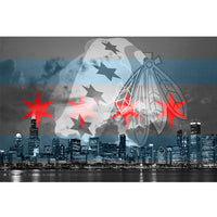Zapwalls Decals Modern Black & White Chicago Color Flag Skyline Wall Graphic