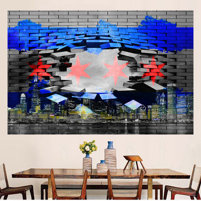 Zapwalls Decals Modern Breaking Chicago Flag Skyline Wall Graphic