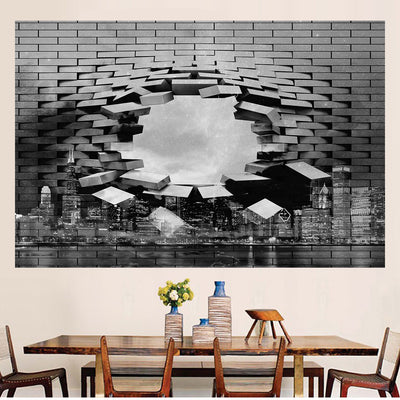 Zapwalls Decals Modern Breaking Chicago Skyline Black & White Wall Graphic