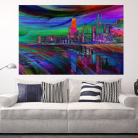 Zapwalls Decals Modern Crazy Abstract Chicago Skyline Wall Graphic